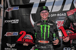 CJ Greaves celebrates his 2nd place Pro2 finish at Chicagoland's Route 66 Raceway.
