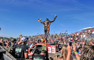 CJ Greaves celebrates following his Pro-4 sweep in Bark River.